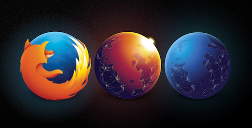 The new logos for Firefox, Aurora and Nightly.