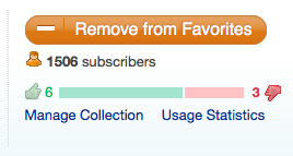 Screenshot of collection rating and usage stats link