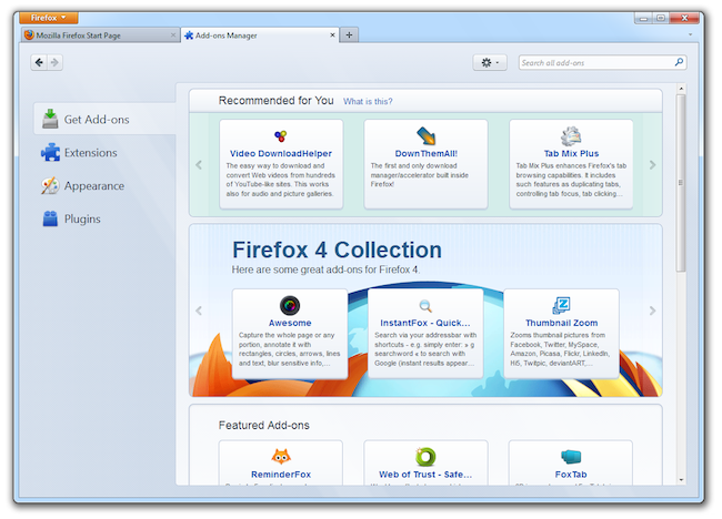 Screenshot of Add-ons Manager