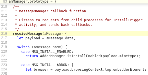 Code sample for a receiveMessage function using the MessageManger API
