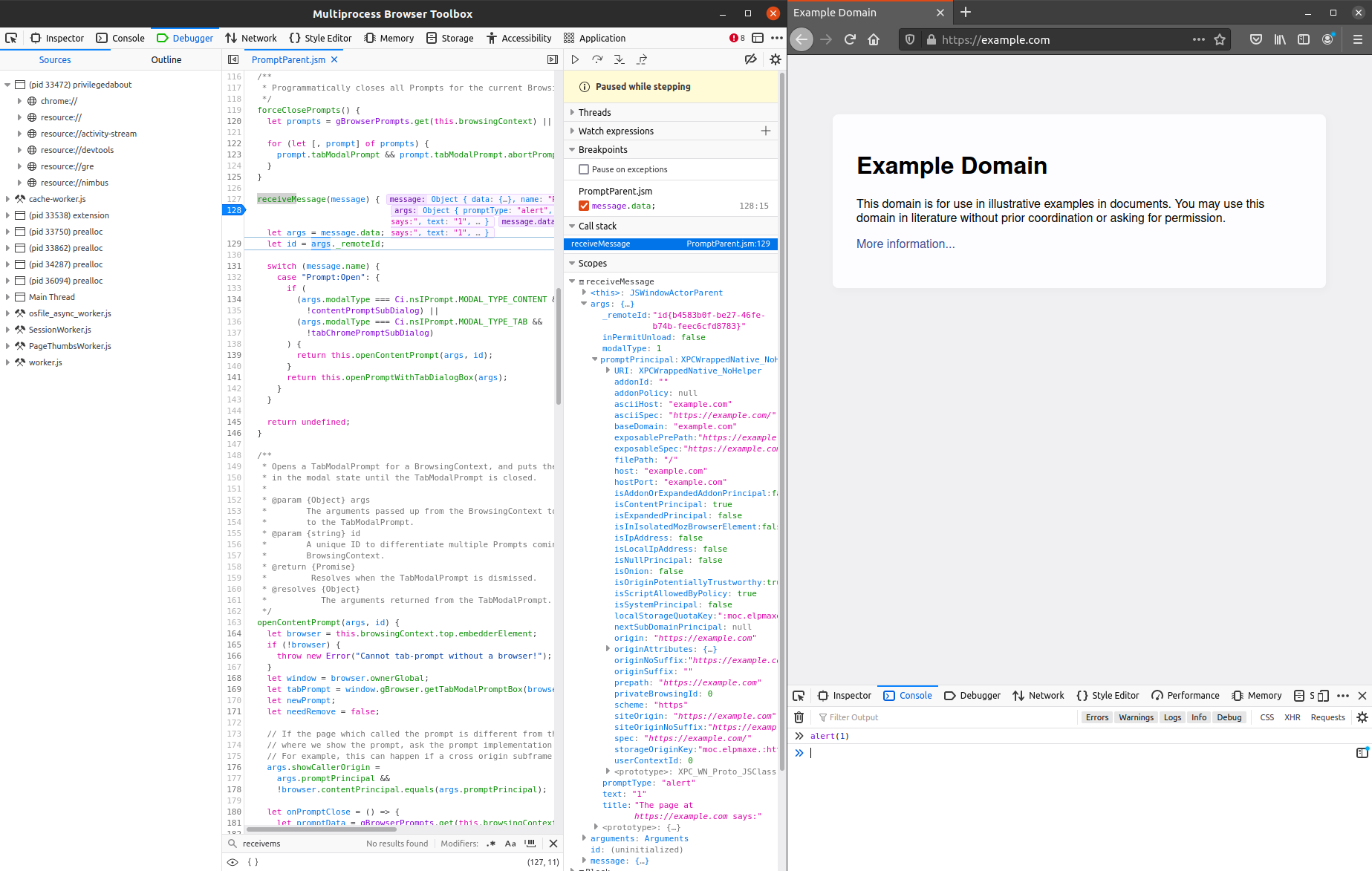 Hitting a breakpoint in Firefox's parent process using Firefox Developer Tools (left)