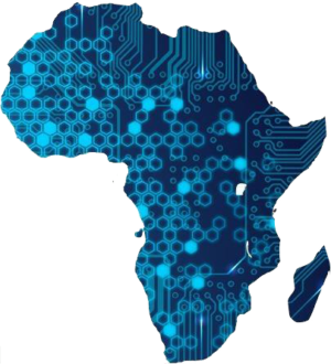 An image of the shape of the continent of Africa covered with blue hexagons and circuit board textures