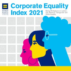 """Image of the Human Rights Campaign Foundation's Corporate Equality Index 2021 rating logo with the text """"Rating Workplaces on Lesbian, Gay, Bisexual, Transgender, and Queer Equality"""" and three different faces colored pink, yellow, and blue looking the same direction"""