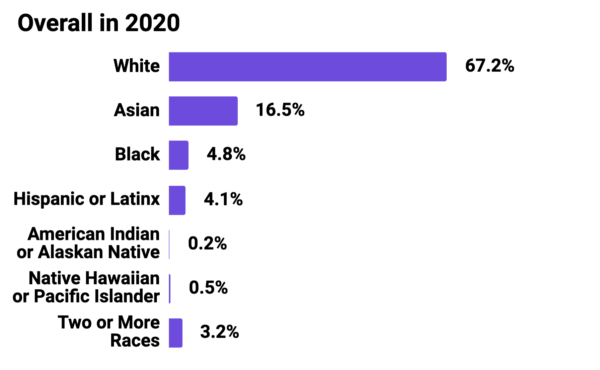Graph showing Mozilla Corporation Overall Race and Ethnicity