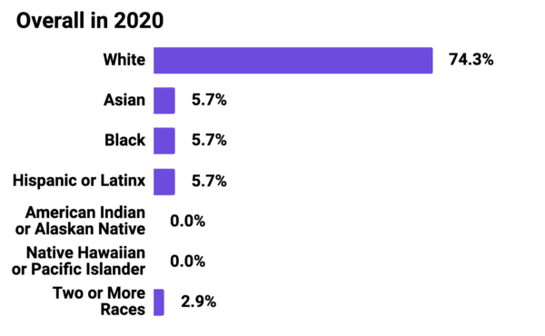 Graph showing Mozilla Foundation Overall Race and Ethnicity