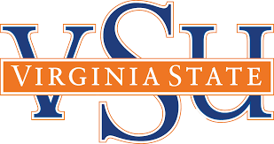 Image of the Virginia State University Logo with V S U in the background in blue and Virginia State in the foreground in white and orange