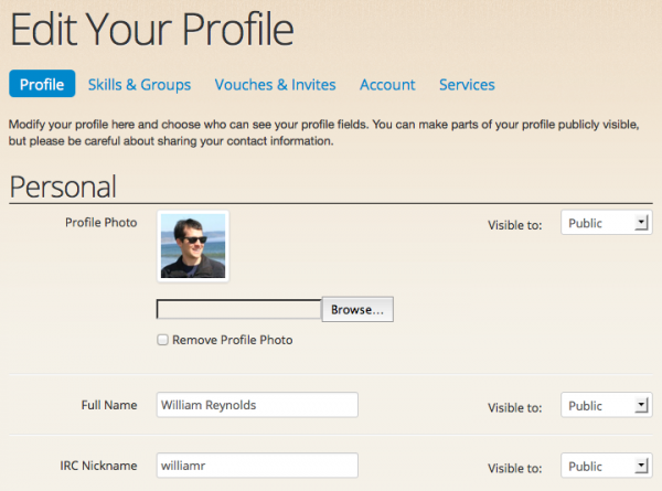 You can now change the visibility for each profile field when editing your profile.