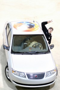 Firefox-clad car and driver not included in party pack.]