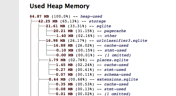 New about:memory output on Mac, showing misaligned box characters