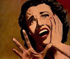 1950s B-movie woman screaming