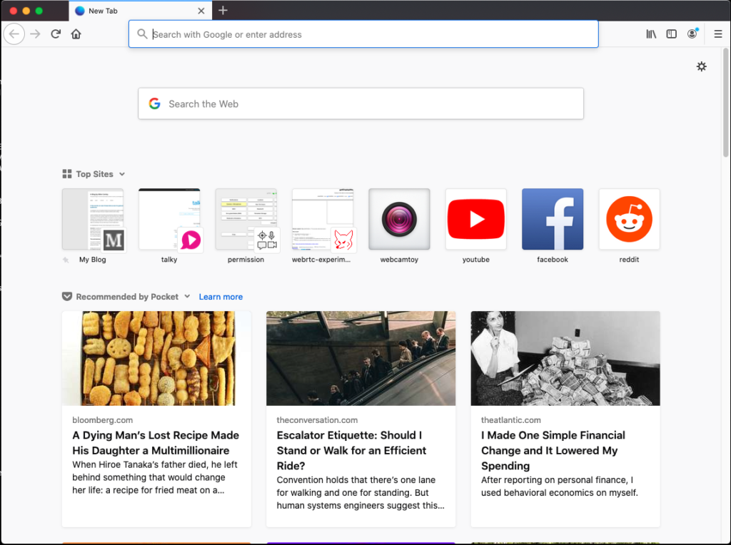 about:home in an instance of Firefox. There are a series of Top Sites listed including Facebook, YouTube and Reddit. There are three Pocket stories also listed.