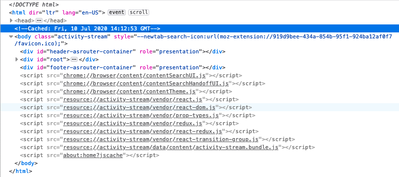 The Firefox DevTools Inspector showing the source for the about:home page. A comment above the body tag indicates that this was loaded from the cache.