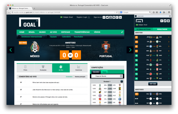 A barra lateral do Goal.com no Firefox para Windows, Mac e Linux