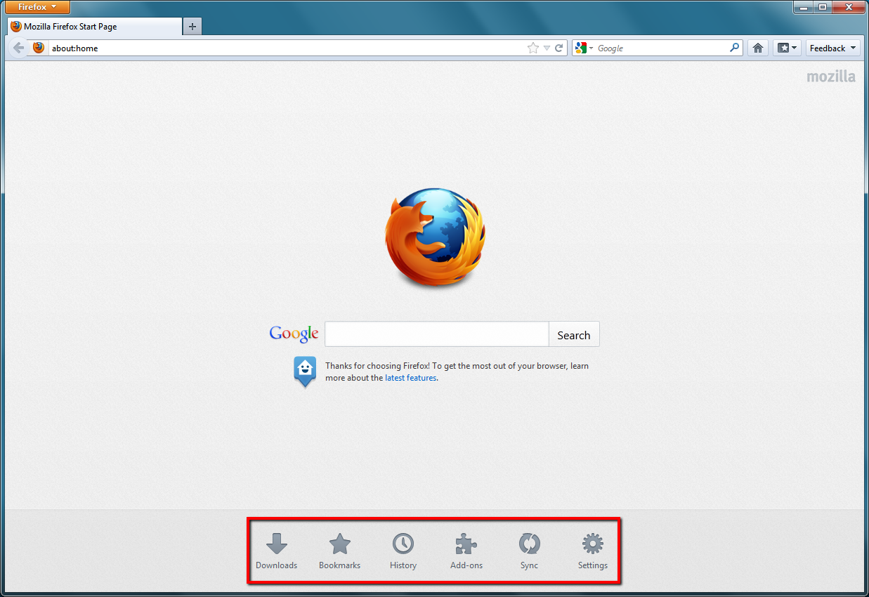 Firefox 13 Home Tab Page (launch targets emphasized)