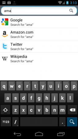 Search accelerators in Firefox Mobile Top Sites