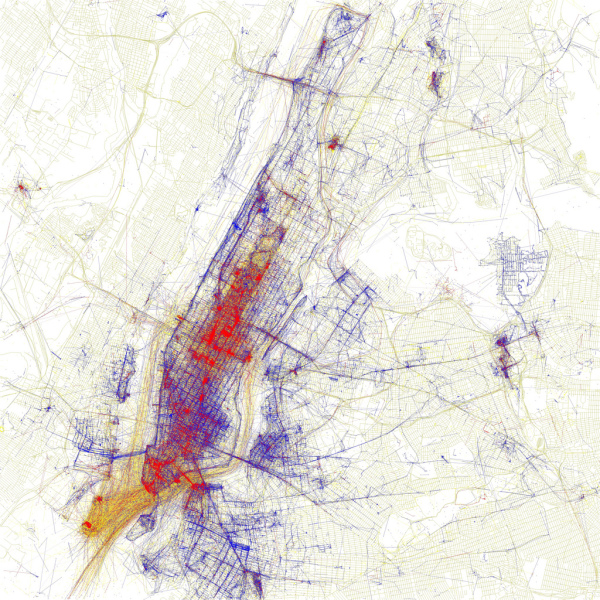 Photos on Flickr taken in NY by tourists and locals. Blue pictures are by locals. Red pictures are by tourists. Yellow pictures might be by either. Source: https://www.flickr.com/photos/walkingsf