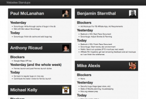 Screenshot of the Websites Standup App