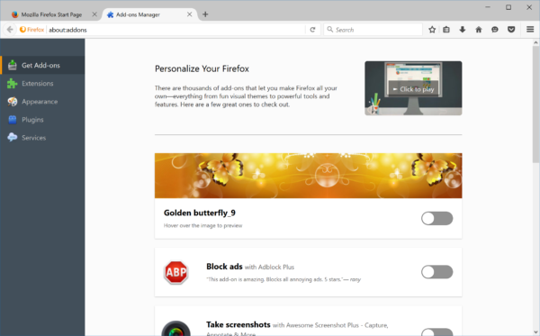 Add-on Discovery Pane starting with Firefox 48