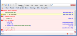 Firebug console panel view with an example of error logs.