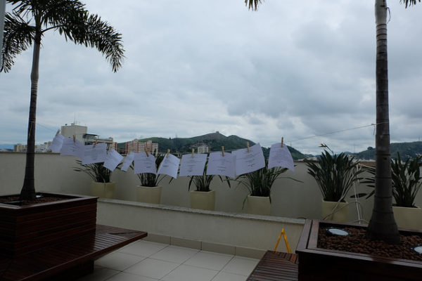 Printed ideas for add-ons on a clothesline