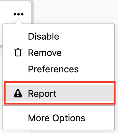 report option in about:addons