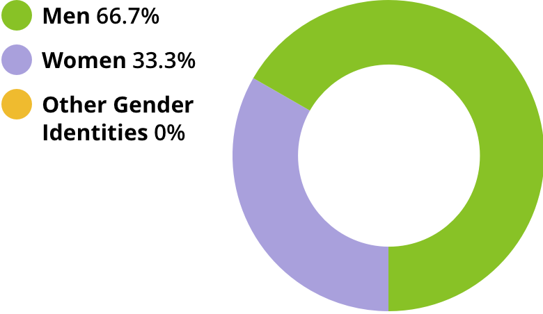 Men: 66.7%. Women: 33.3%. Other gender identities: 0.