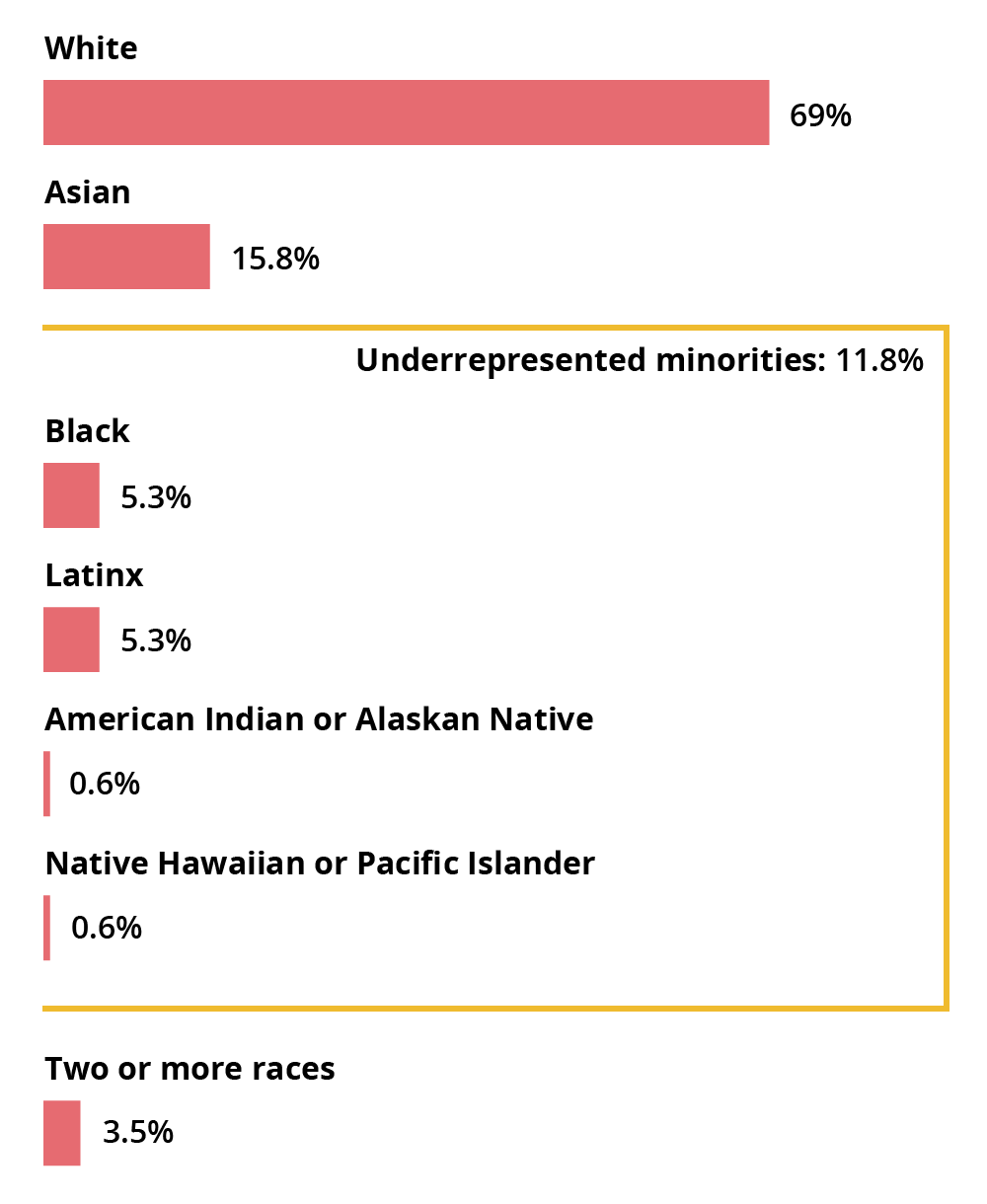White: 69%, Asian: 15.8%, Black: 5.3%, Latinx: 5.3%, American Indian or Alaskan Native: 0.6%, Native Hawaiian or Pacific Islander: 0.6%, Two or more races: 3.5%. Underrepresented minorities total: 11.8%.