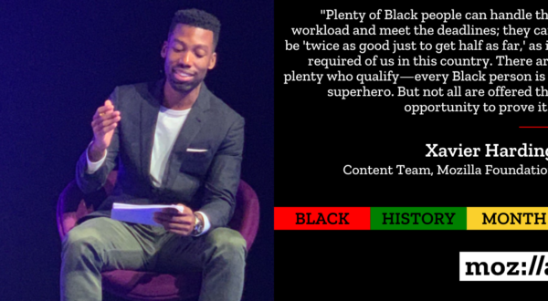 Mozilla Black History Month image and quote from Xavier Harding