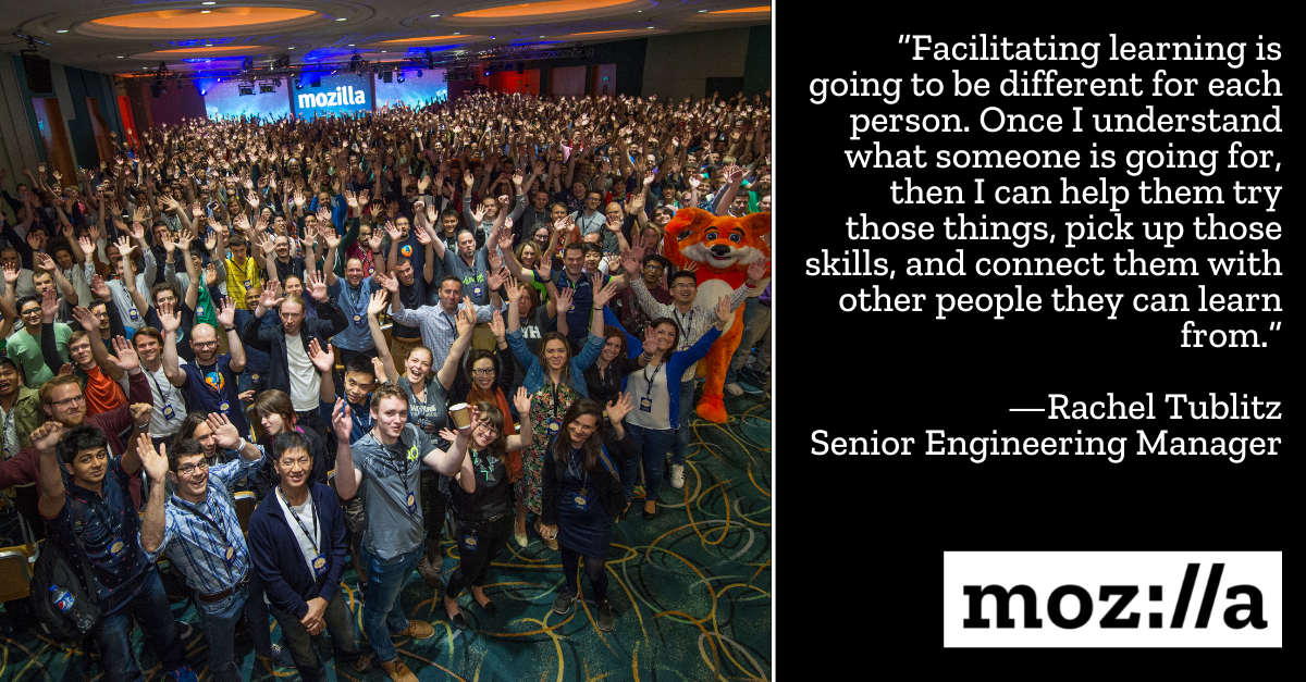 image of Mozillians at All Hands accompanied by quote from Rachel Tublitz