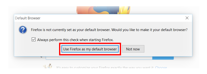 small firefox default web browser prompt