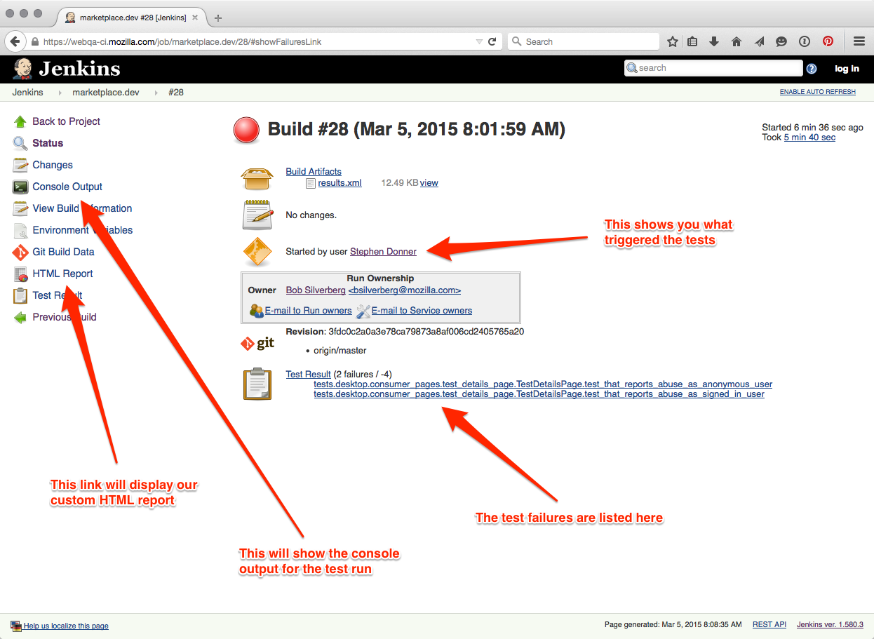 Web QA publishes automated test results – Firefox Test