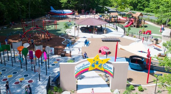 An image of the Jonathan's Dream playground in West Hartford, CT.