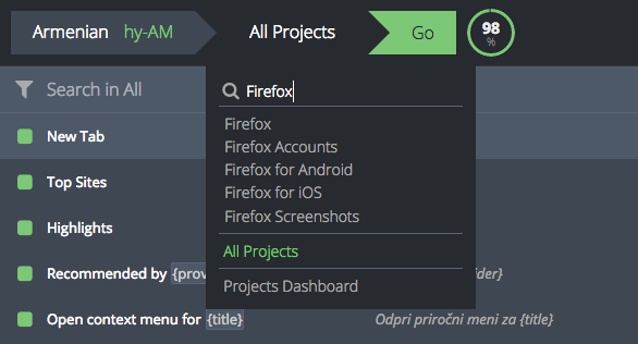 Select All Projects from the project menu
