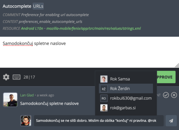 "Screenshot of Pontoon, showing the new ""mentions"" feature"