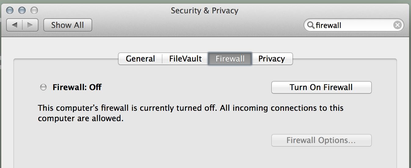 Dialog box showing the firewall off by default