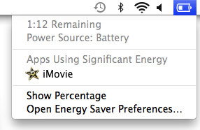 Screenshot of the OS X battery status menu