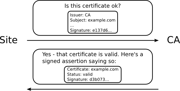 site asks CA for certificate status