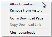 "Menu with ""Allow Download"" selected using the mouse"
