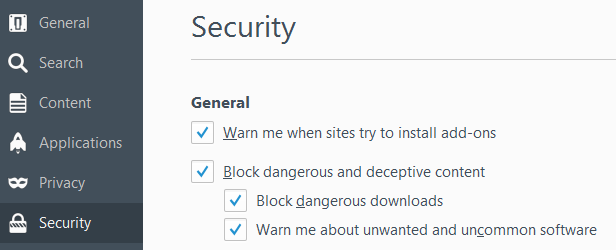 Security options showing three Safe Browsing options