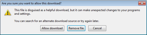 "Confirmation dialog box defaulting to ""Remove file"""
