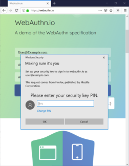 A Windows 10 dialog box prompting for a Web Authentication credential