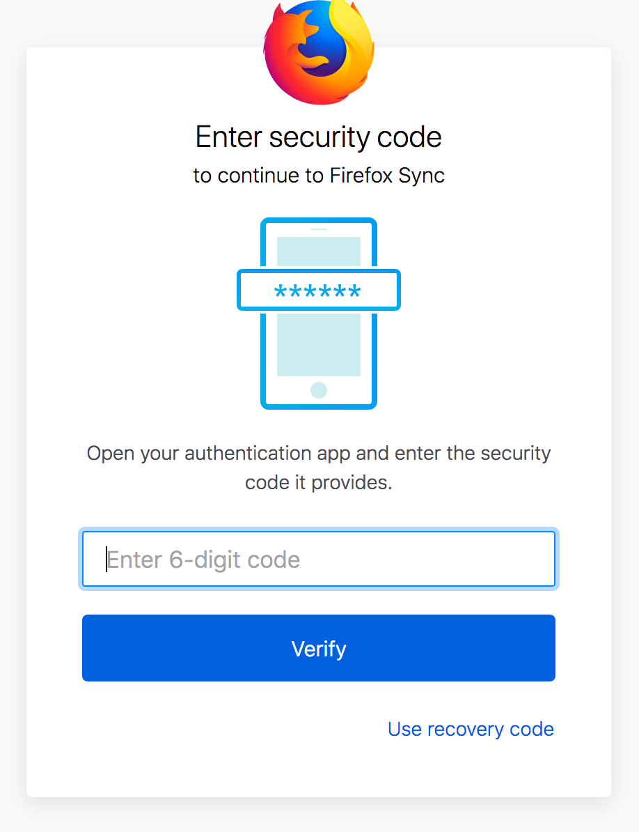 Two-step authentication in Firefox Accounts | Mozilla Services
