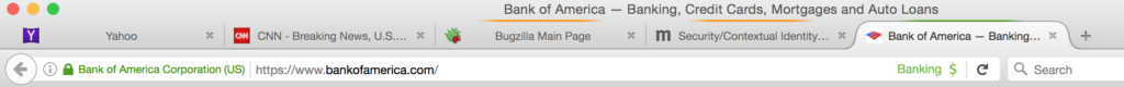 User Interface when 2 normal tabs are open, next to 2 Work Container tabs and 1 Banking Container tab