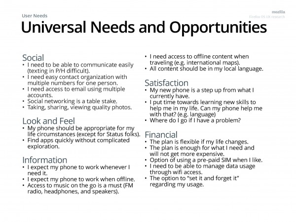 Universal needs and Opportunities across user groups