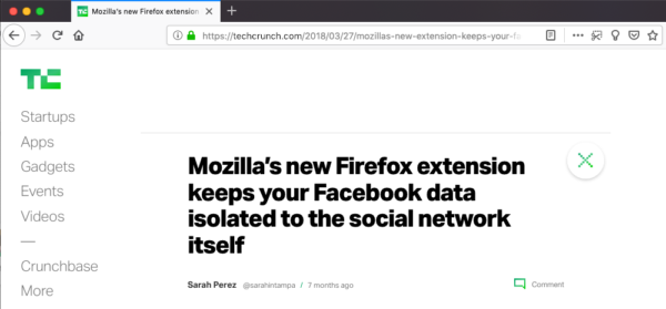 "Screenshot of an article with the heading ""Mozilla's new Firefox extension keeps your Facebook data isolated to the social network itself"""