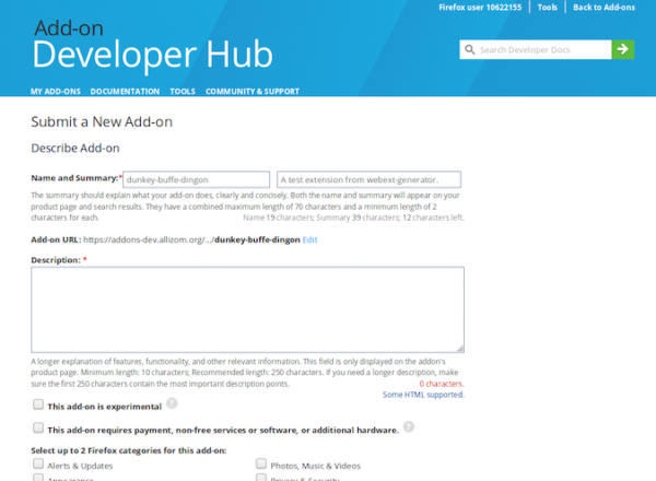 Screenshot of the Add-on Developer Hub submission form for a new add-on. It includes fields for name and summary, URL, description, and checkboxes for attributes that describe the add-on.