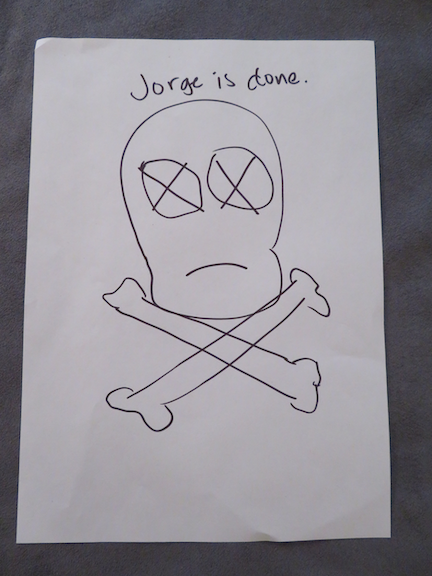 "Image: ""Jorge is done"" text written above a skull and crossbones sketch."