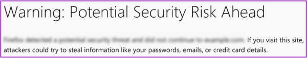 "The heading, ""Warning: Potential Security Risk Ahead"" sits on top of a line of blurred out body copy. The second line reads, ""If you visit this site, attackers could try to steal information like your passwords, emails, or credit card details."" The entire example is outlined in purple."