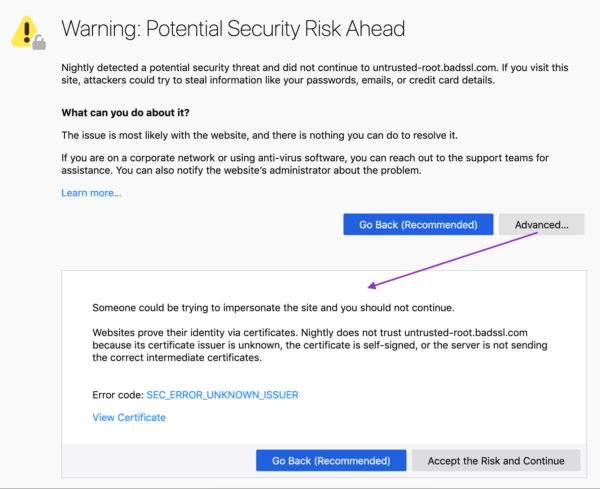 "Gray error message containing a yellow triangle icon with exclamation point and small broken lock. The heading, ""Warning: Potential Security Risk Ahead,"" is followed by two body paragraphs, including one entitled ""What can you do about it?"" in bold. An ""Advanced"" button reveals additional body copy that is written in plainer language than the old security message."