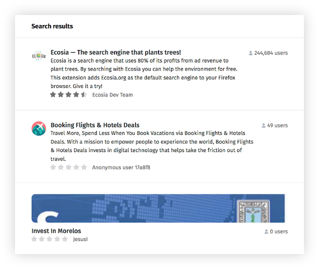 "Screenshot of search results in the add-ons website for the query, ""Investing."" Search results include, ""Ecosia - The search engine that plants trees! extension,"" ""Booking Flights & Hotel Deals"" extension, and then the theme, ""Invest in Morelos."""